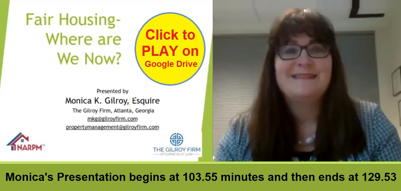 Fair Housing - Where Are We Now NARPM Legislative and Educational Virtual Conference Monica Gilroy Video